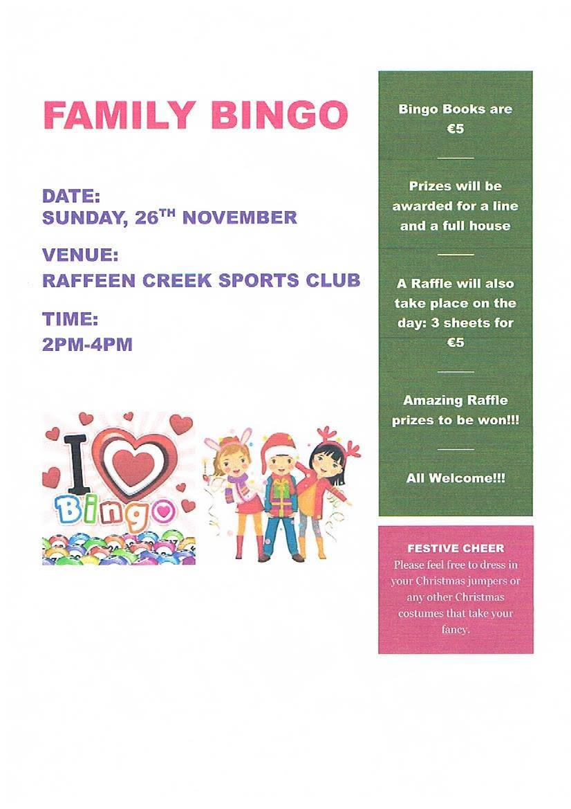 Bingo for all the family!! @ Raffeen Creek Sports Club